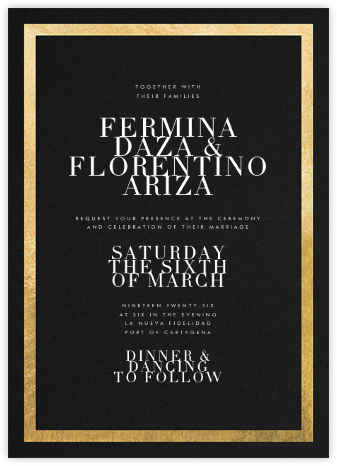 Editorial II - Black/Gold - Paperless Post - Wedding Invitations