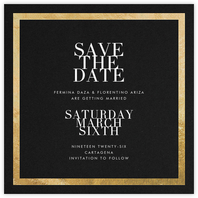 Editorial II (Save the Date) - Black/Gold - Paperless Post - Save the dates