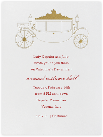 Carriage - Gold Ivory - Paperless Post - Valentine's Day invitations