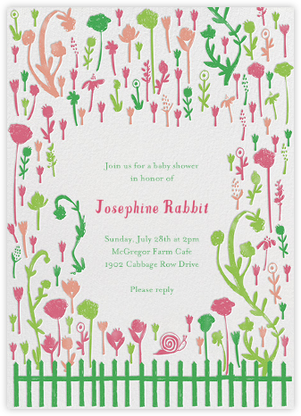 Born in Rose Garden - Brights - Mr. Boddington's Studio - Baby shower invitations
