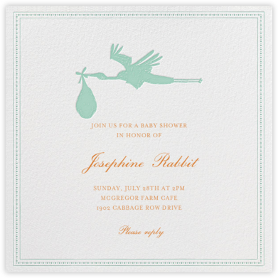 A Stork's Delivery - Sea Green - Mr. Boddington's Studio - Baby Shower Invitations