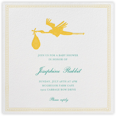 A Stork's Delivery - Sunshine - Mr. Boddington's Studio - Baby Shower Invitations