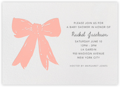 Big Pink Bow - Linda and Harriett - Baby Shower Invitations