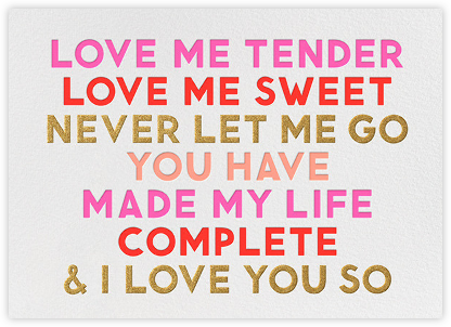 Love Me Tender - The Indigo Bunting - Valentine's day cards