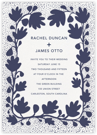 Ficus - Navy - Linda and Harriett - Rustic wedding invitations