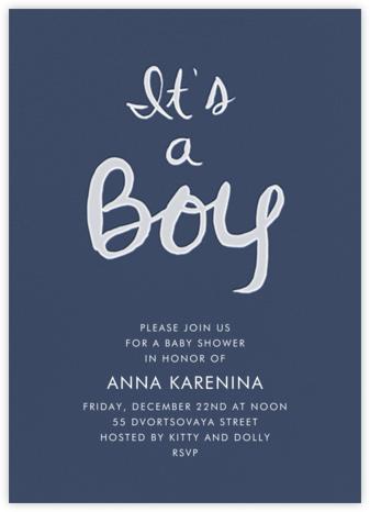Brilliant Boy - Navy - Linda and Harriett - Online Baby Shower Invitations