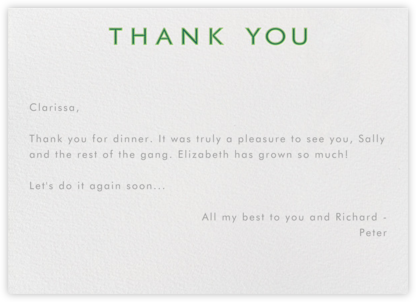 Double Thank You - Greens - Paperless Post - Online thank you notes