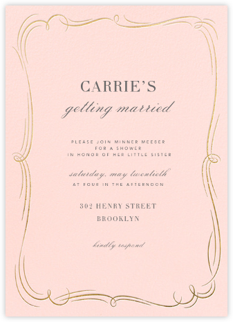 Plume (Tall) - Meringue/Gold - Paperless Post - Bridal shower invitations