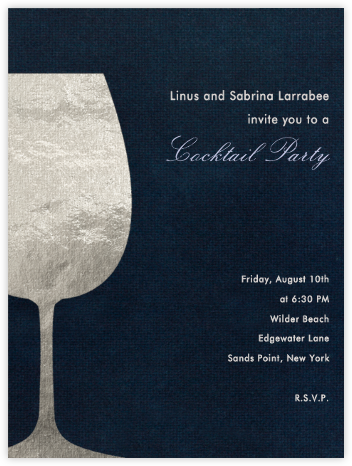 Wineglass Foil (Midnight) - Paperless Post - Cocktail party invitations
