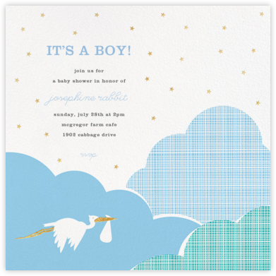 Fly by Night - Blue - Hello!Lucky - Online Baby Shower Invitations