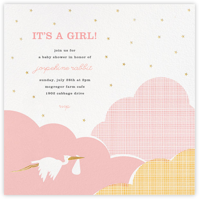 Fly by Night - Pink - Hello!Lucky - Online Baby Shower Invitations