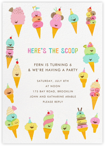 Happy Ice Creams - Hello!Lucky - Online Kids' Birthday Invitations