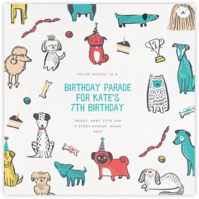 Woof Woof - Teal - Hello!Lucky - Online Kids' Birthday Invitations