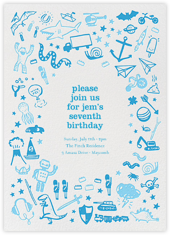 Blue Play Things - Hello!Lucky - Kids' birthday invitations