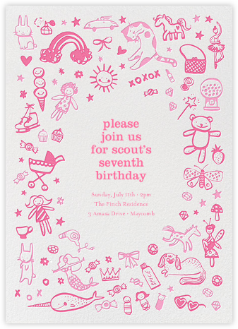Pink Play Things - Hello!Lucky - Online Kids' Birthday Invitations