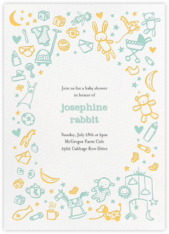 Baby Things - Celadon - Hello!Lucky - Baby Shower Invitations