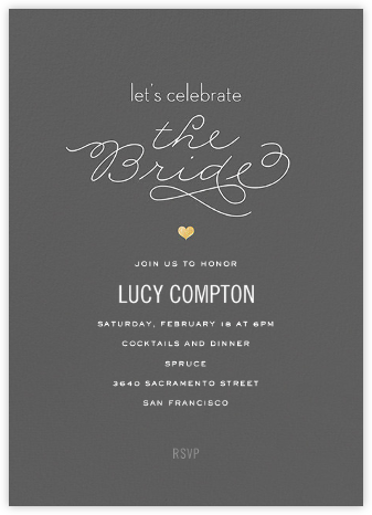 The Bride - Grey - bluepoolroad - Bridal shower invitations