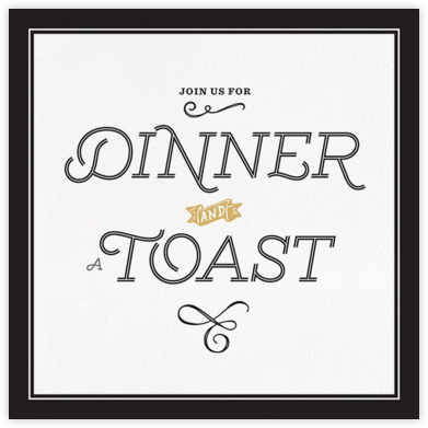 Dinner and a Toast - Black - bluepoolroad - Retirement invitations, farewell invitations