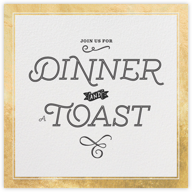 Dinner and a Toast - Gold - bluepoolroad - Retirement invitations, farewell invitations