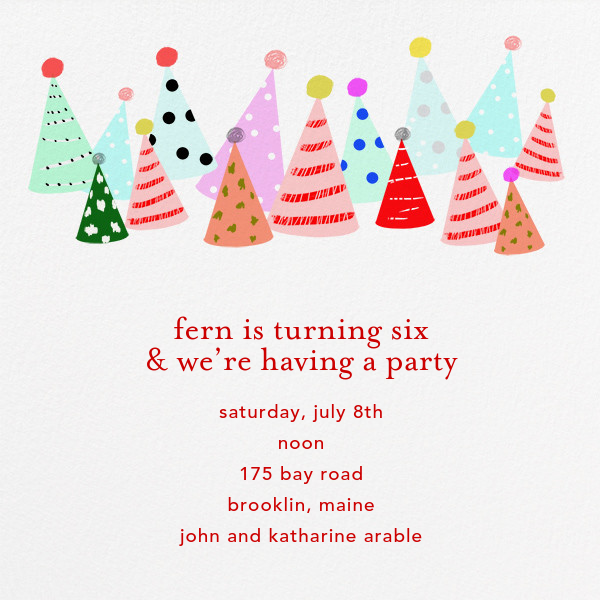 Party Hats - Ashley G - Kids' birthday invitations