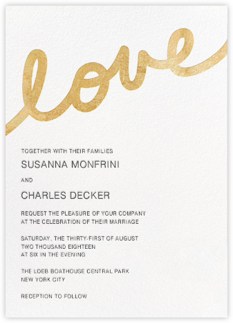 Love Letter - Gold - Paper + Cup - Modern wedding invitations