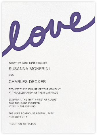 Love Letter - Purple - Paper + Cup - Modern wedding invitations