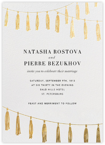 Tasseled II - Gold - Paperless Post - Wedding Invitations