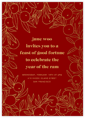 Mandarin Orchard - Paperless Post - Lunar New Year Invitations