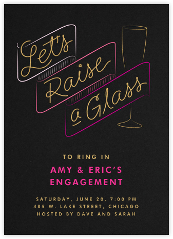 Let's Raise A Glass - Crate & Barrel - Engagement party invitations
