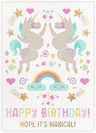 Unicorn High Five (Greeting) - Hello!Lucky - Birthday cards