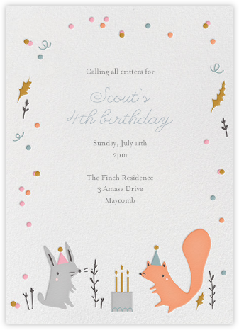 Forest Birthday Party - Bunny - Little Cube - First birthday and baby birthday invitations