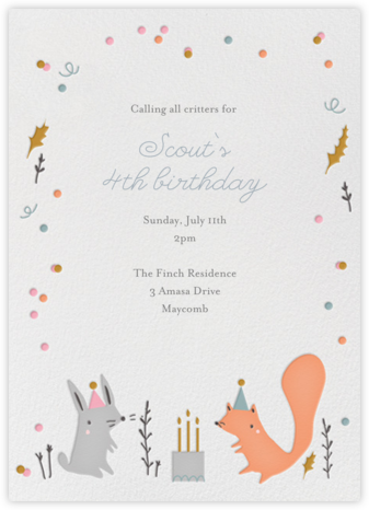 Forest Birthday Party - Bunny - Little Cube - First Birthday Invitations