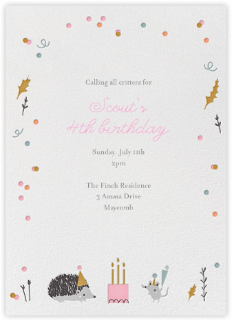 Forest Birthday Party - Hedgie - Little Cube - Birthday invitations