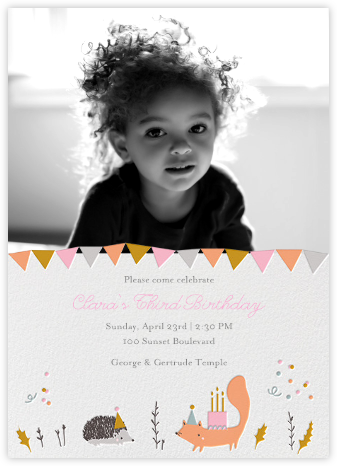 Forest Birthday Photo - Hedgie - Little Cube - Kids' birthday invitations
