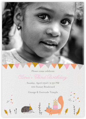 Forest Birthday Photo - Hedgie - Little Cube - First Birthday Invitations