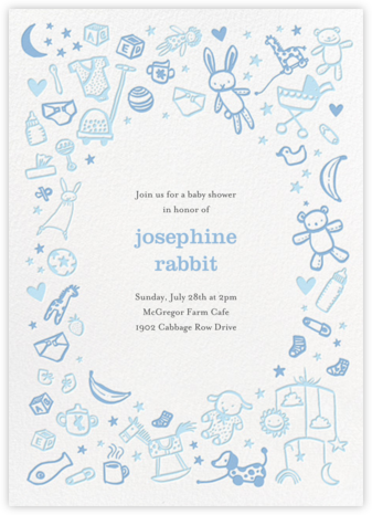 Baby Things - Blue - Hello!Lucky - Online Baby Shower Invitations