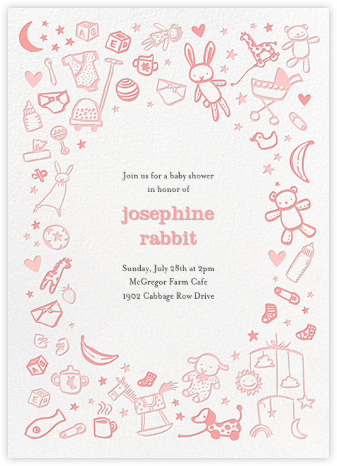 Baby Things - Pink - Hello!Lucky - Baby shower invitations
