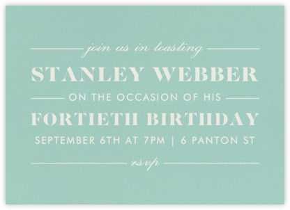 The Occasion - Celadon - Paperless Post - Adult Birthday Invitations