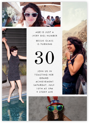 Quad - Ivory - Paperless Post - Milestone birthday invitations