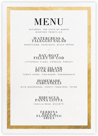 Editorial II (Menu) - Gold - Paperless Post - Wedding menus and programs - available in paper
