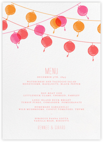 Lanterns (Menu) - Paperless Post - Wedding menus and programs - available in paper