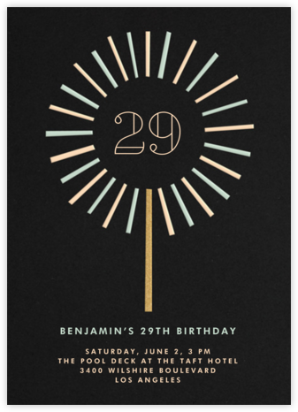 Year of the Sparkler - Black - Paperless Post - Adult Birthday Invitations