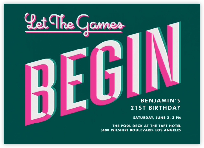 Let the Games Begin - Green - Paperless Post - Adult Birthday Invitations