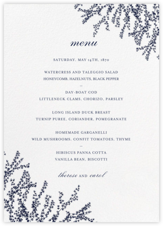 Forsythia (Menu) - Navy - Paperless Post - Wedding menus and programs - available in paper