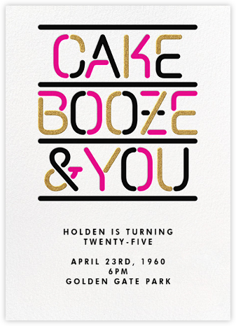 Cake Booze and You - Paperless Post - Adult Birthday Invitations