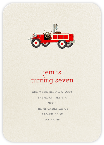 Firetruck - Felix Doolittle - Online Kids' Birthday Invitations