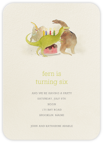 Dinosaurs' Cake - Felix Doolittle - Birthday invitations