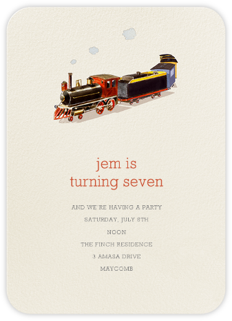 Choo Choo - Felix Doolittle - First Birthday Invitations
