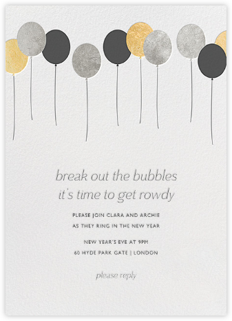 Balloons - Metallic - Paperless Post - New Year's Eve Invitations