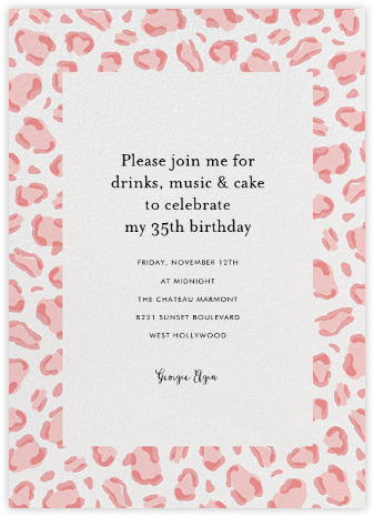 Leopard Spots - Pink  - Paperless Post - Invitations